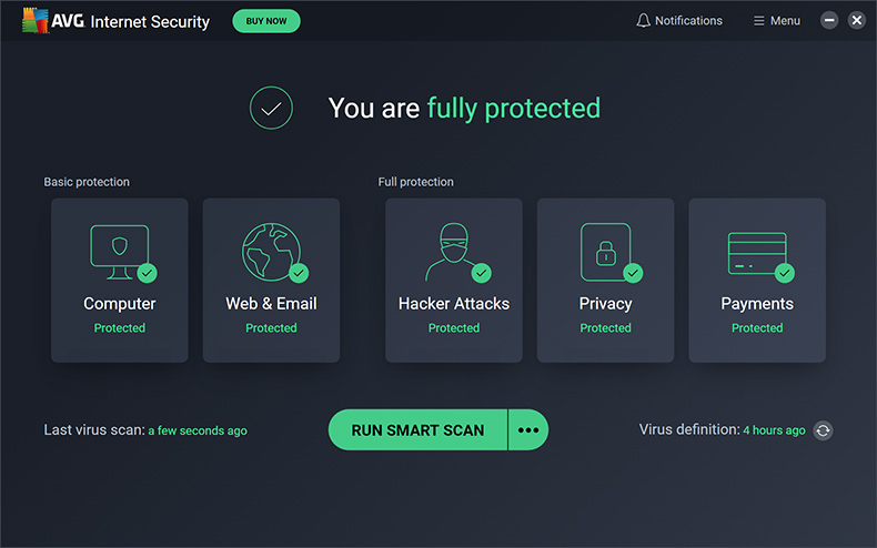 AVG Internet Security - Startvenster