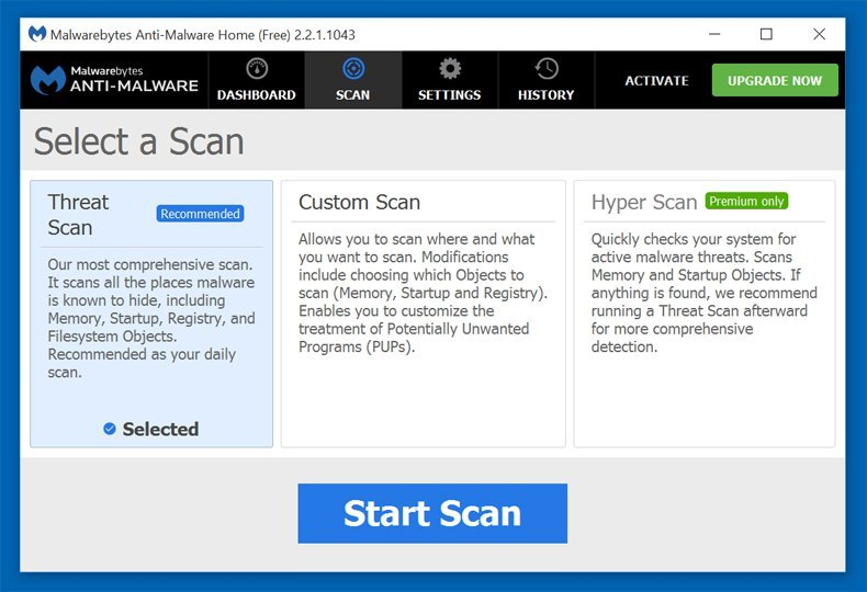 Malwarebytes scan options