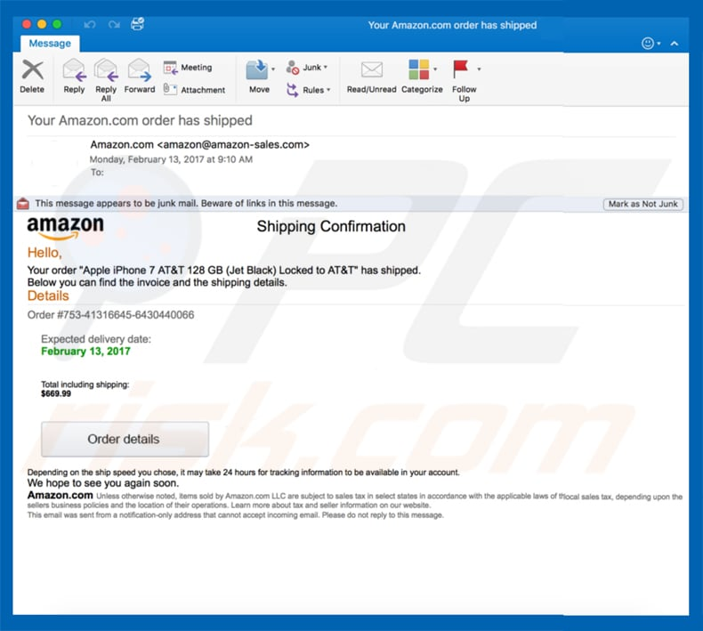 amazon phishing spammail voorbeeld