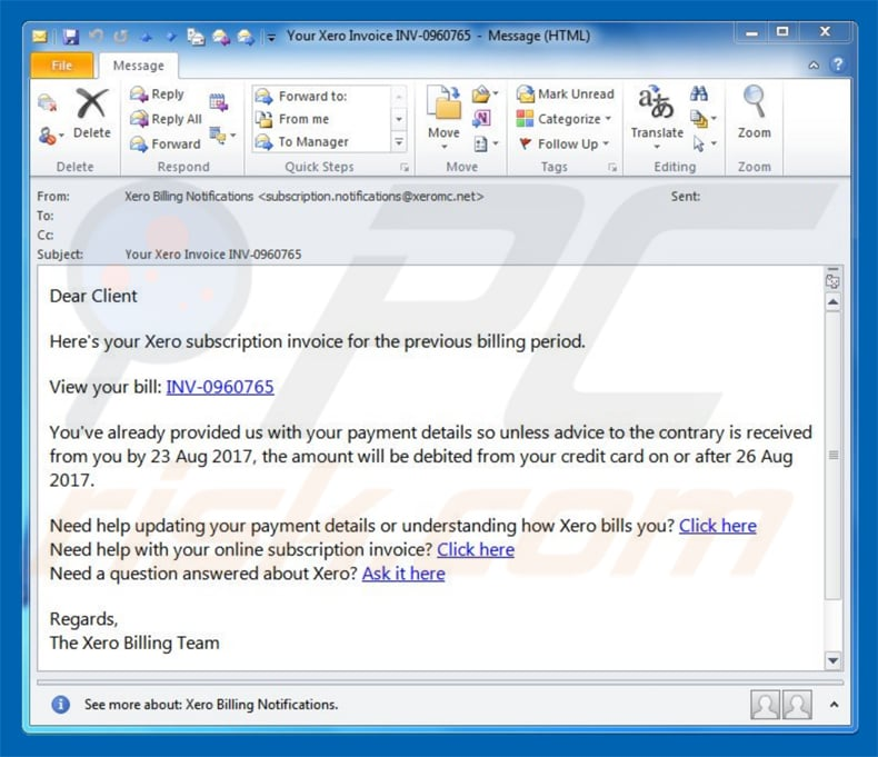 invoice phishing spam e-mail voorbeeld