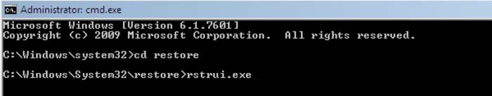 systeemherstel via command prompt rstrui.exe