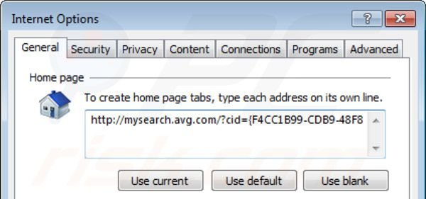 Removing AVG search from Intenret Explorer homepage
