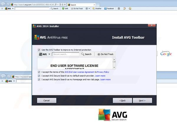 AVG Search doorverwijzing