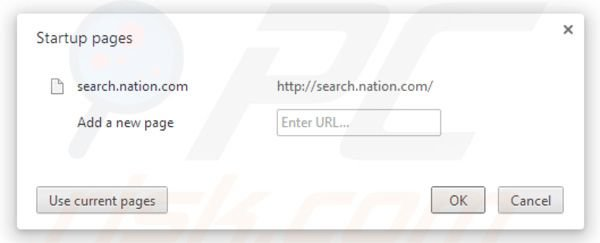 Nation search startpagina in Google Chrome