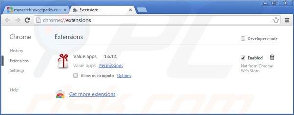 Verwijder de mysearch.sweetpacks.com doorverwijzing uit Google Chrome: