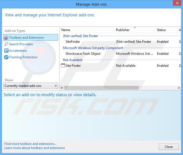 Removing client connect ltd adware from Internet Explorer extensions step 1