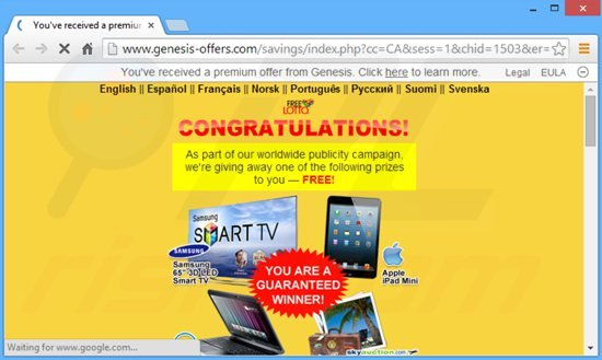 genesis adware genereert intrusieve pop-up advertenties