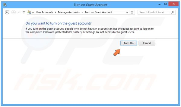 Het Gast-account aanzetten in Windows 8 - Stap 4