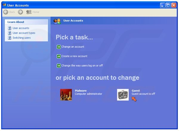 De gastaccount inschakelen in Windows XP stap 3