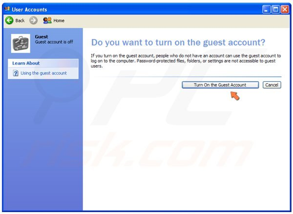 Schakel de gastaccount in op Windows XP stap 4