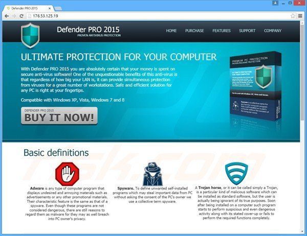 defender pro 2015 valse antivirus website