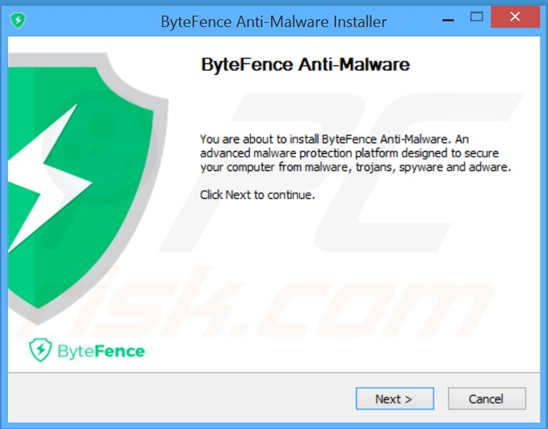 ByteFence applicatie installatieconfiguratie