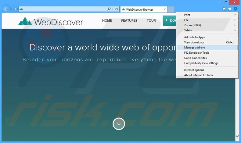 Removing WebDiscover ads from Internet Explorer step 1