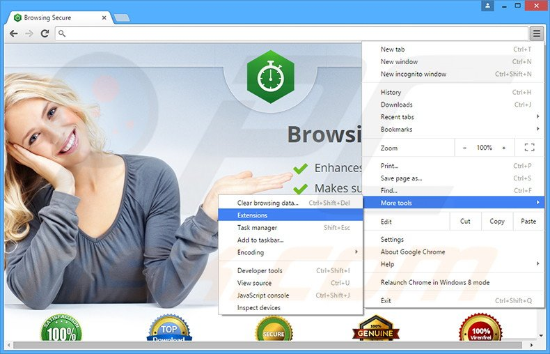 Verwijder de Browsing Secure advertenties uit Google Chrome stap 1