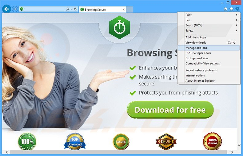 Verwijder de Browsing Secure advertenties uit Internet Explorer stap 1