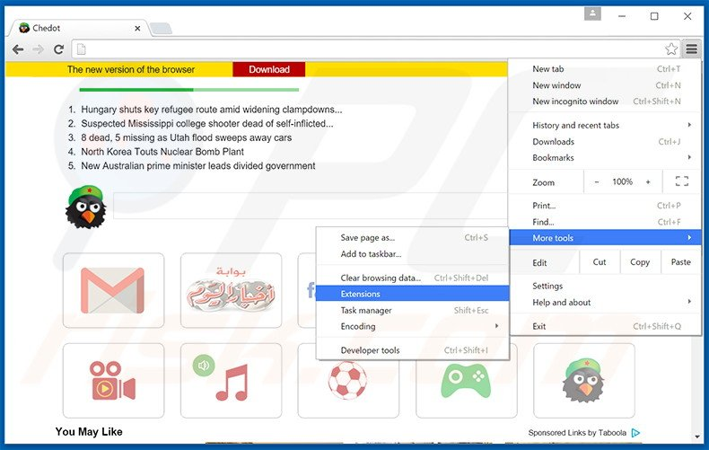 Verwijder de Chedot Browser advertenties uit Google Chrome stap 1