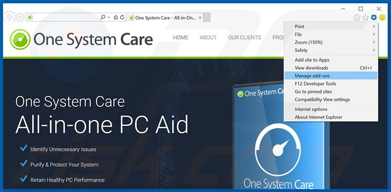 Verwijder de One System Care advertenties uit Internet Explorer stap 1
