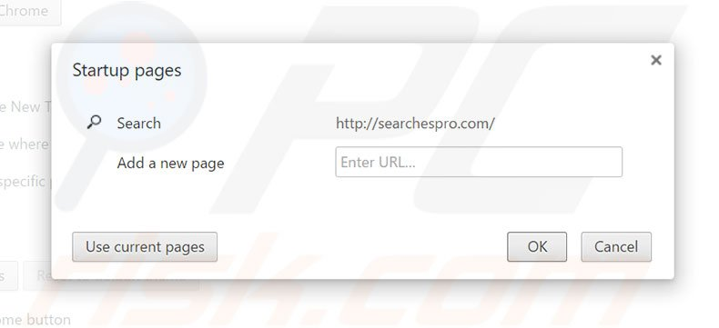 Removing searchespro.com from Google Chrome homepage