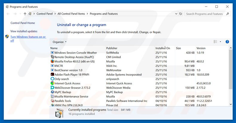 under-cover.info browser hijacker uninstall via Control Panel