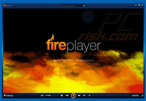 Screenshot van de FirePlayer adware