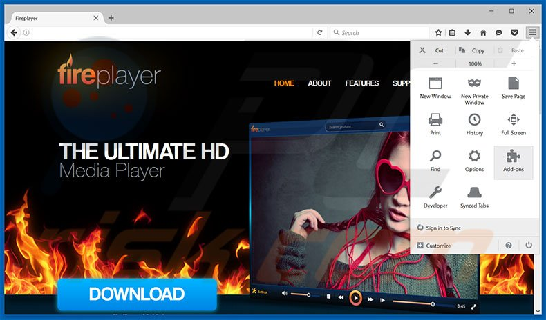 Verwijdering FirePlayer ads uit Mozilla Firefox stap 1