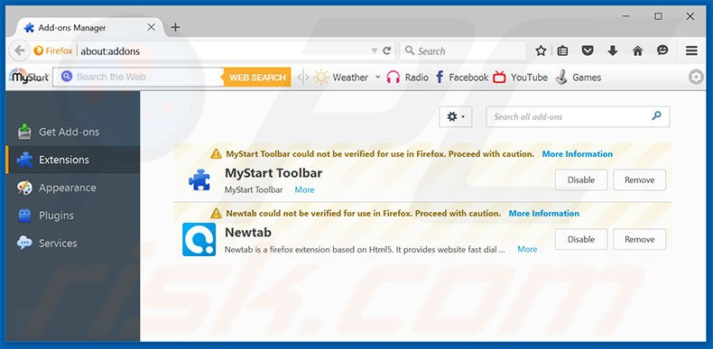 Verwijdering FirePlayer ads uit Mozilla Firefox stap 2