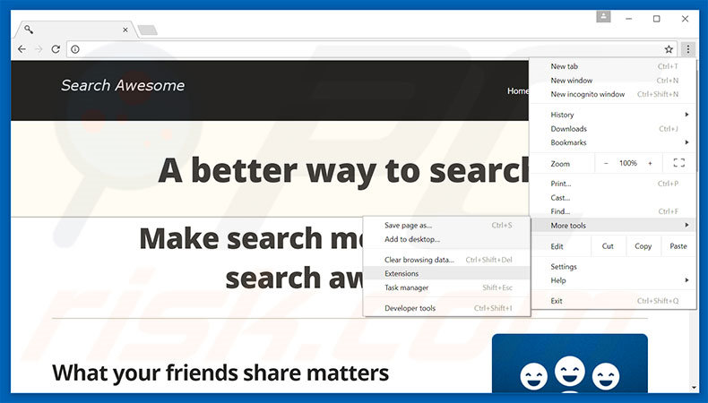 Verwijder de Search Awesome advertenties uit Google Chrome stap 1