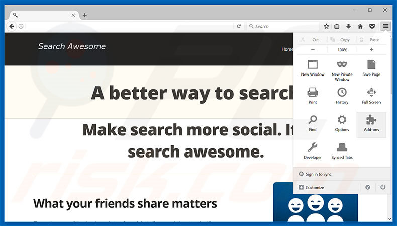 Verwijder de Search Awesome advertenties uit Mozilla Firefox stap 1