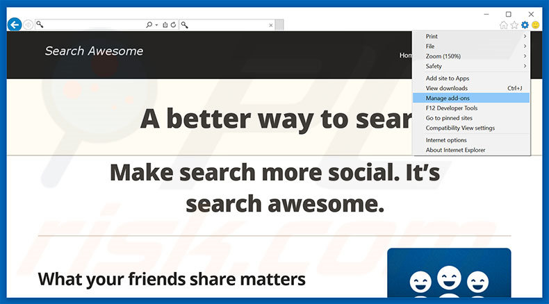 Removing Search Awesome ads from Internet Explorer step 1