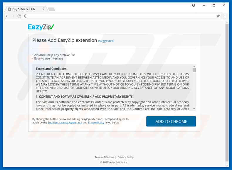 Website promoot EazyZip browserkaper
