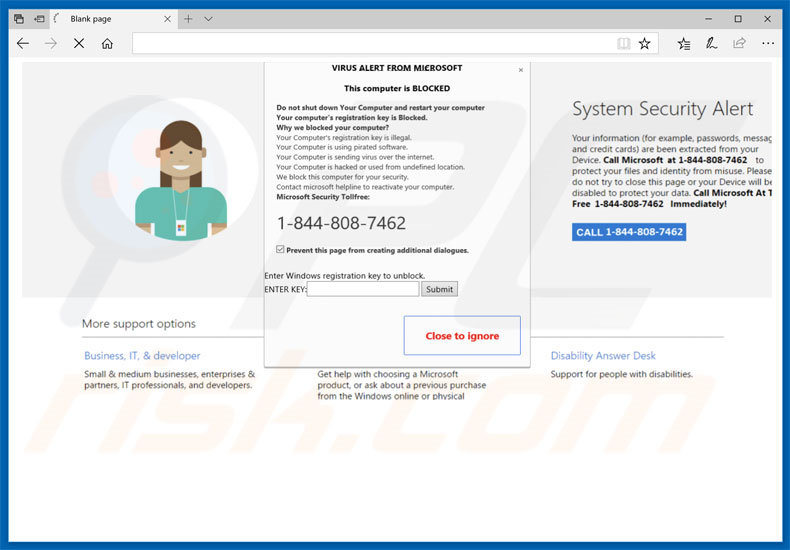 VIRUS ALERT FROM MICROSOFT adware