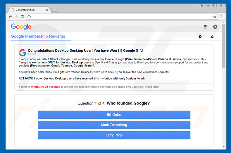 You Have Won A Google Gift adware