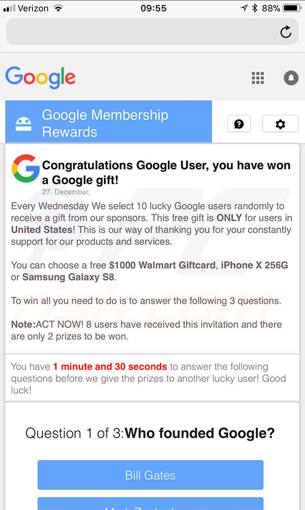 You Have Won A Google Gift mobiele versie
