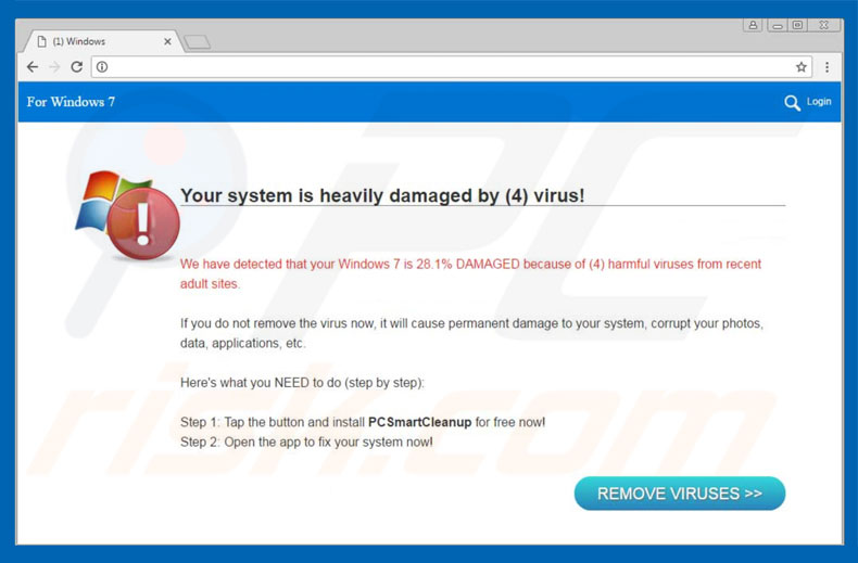 Your System Is Heavily Damaged By (4) Virus oplichting