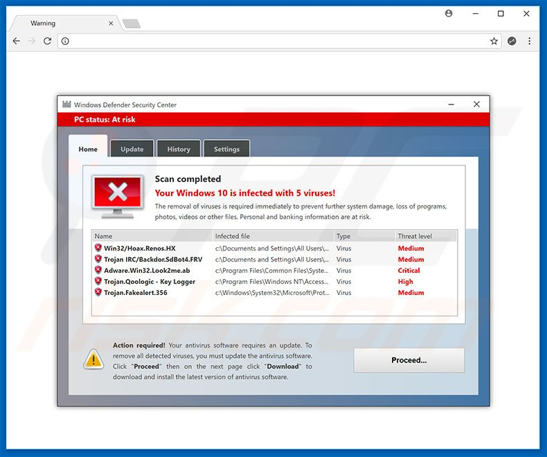 Windows Defender Security Center oplichting