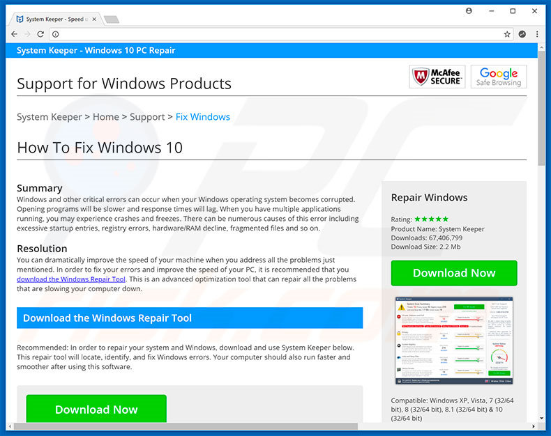 Windows Defender Security Center promoot System Keeper