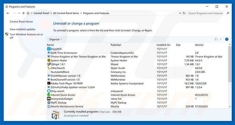 Emotet adware uninstall via Control Panel