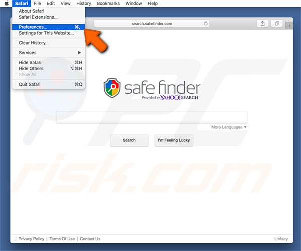 Safe Finder Safari Options Stap 1