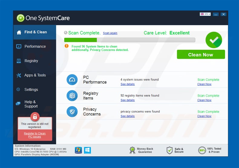 one systemcare applicatie