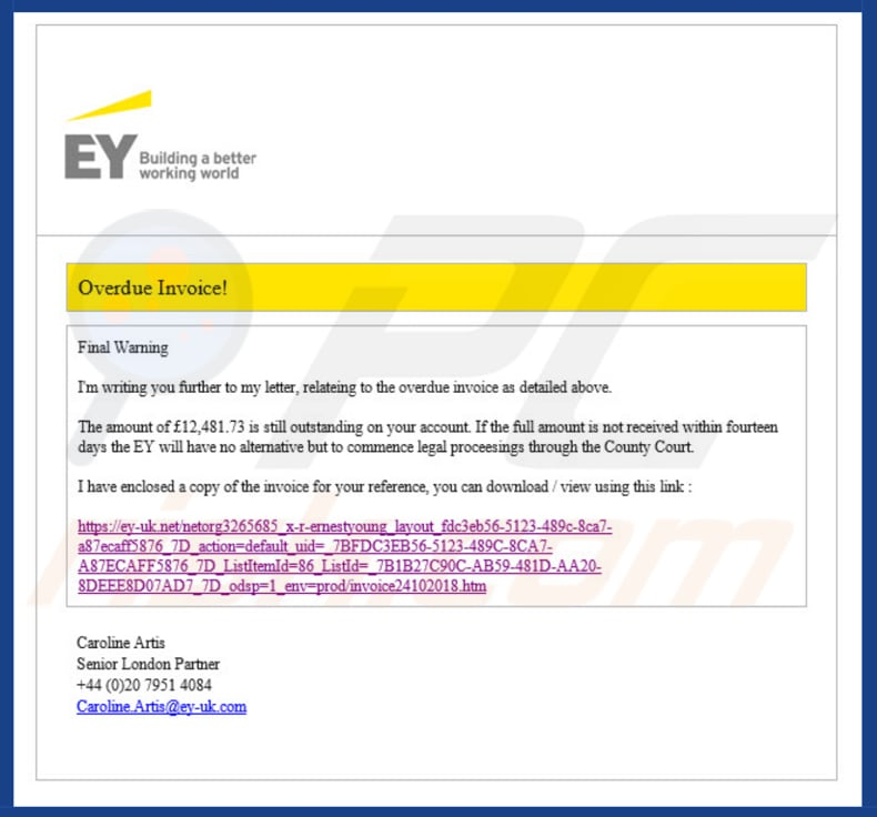 Ernst & Young Email Virus malware
