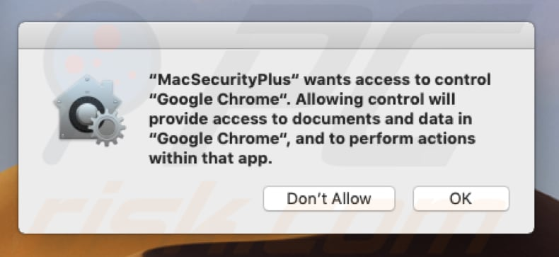 mac security plus wil de browser controleren