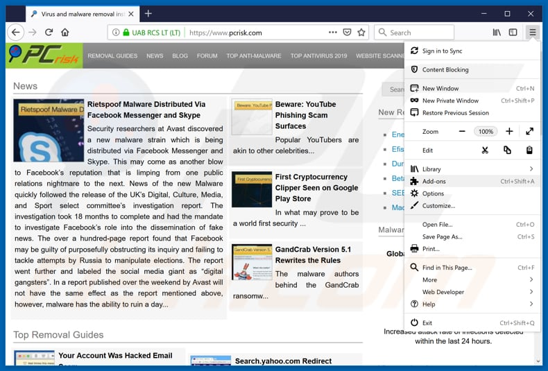 Verwijdering savefrom[.]net ads uit Mozilla Firefox stap 1