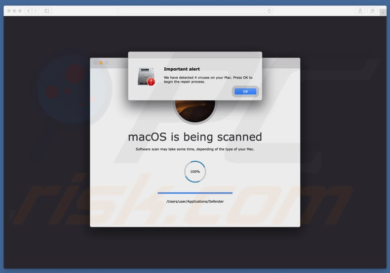 Your Mac is infected with 4 viruses oplichting
