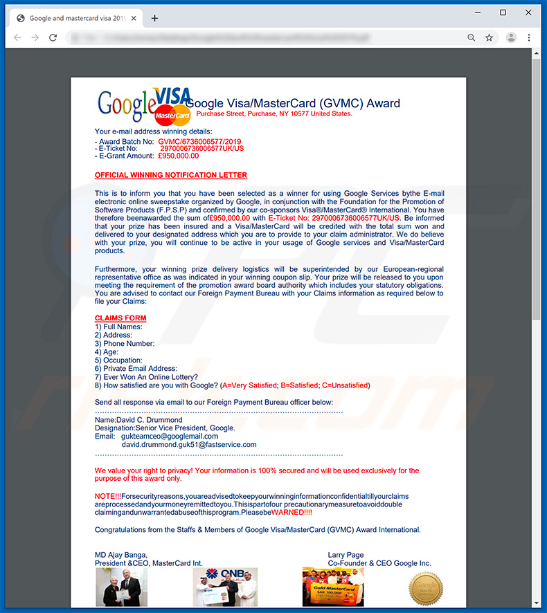 Google Winner e-mailspamcampagne attachment Official Winning Letter by Google and mastercard visa 2019.pdf