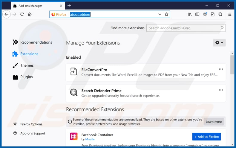 Verwidering fileconvertpro.co gerelateerde Mozilla Firefox extensies