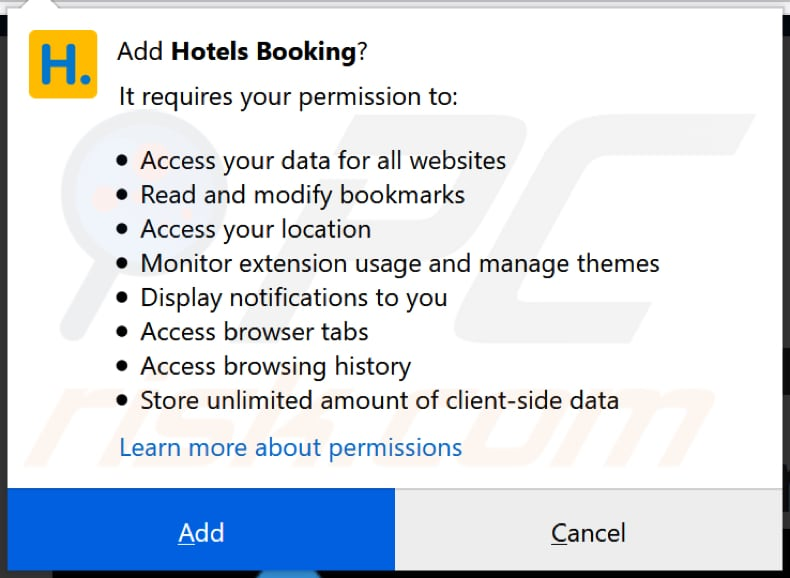 Hotels Booking wil toestemming op Firefox