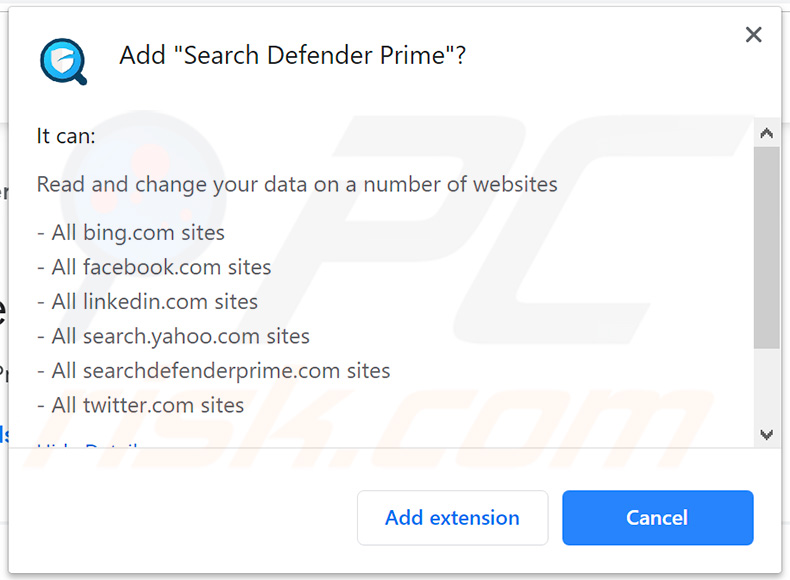 Officiele Search Defender Prime vraagt toestemming op Google Chrome