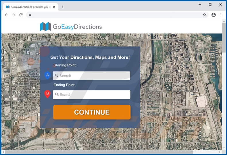 Website promoot de Go Easy Directions Promos adware