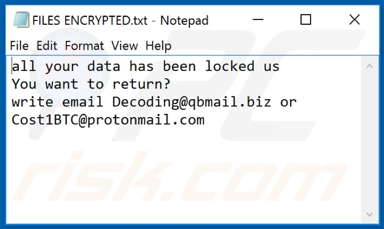 IPM ransomware tekstbestand (FILES ENCRYPTED.txt)