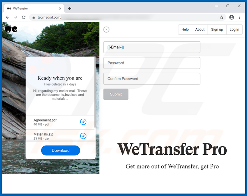 Phishing website promoted via WeTransfer spam emails